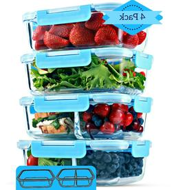 1 & 2 Compartment Glass Meal Prep Food Storage Containers