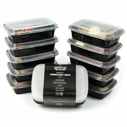 10 Meal Prep Food Storage Containers 1 Compartment Reusable