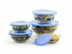 10 Pcs Glass Lunch Bowls Food Storage Containers Set With Li