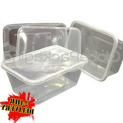 100 x PLASTIC 1000ml MICROWAVE FOOD TAKEAWAY CONTAINERS WITH