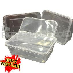 100 x PLASTIC 750ml MICROWAVE FOOD TAKEAWAY CONTAINERS WITH