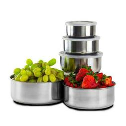 10PCS Stainless Steel Home Kitchen Dining Food Container Sto