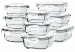 18 Pieces Glass Food Storage Containers Set with Airtight Li