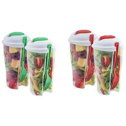 2 Pack Portable Healthy Food Salad Storage On-the-Go Contain