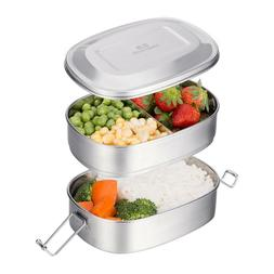 2-Tier Stainless Steel Lunch Box Bento Box Food Storage Cont