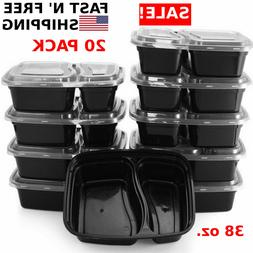 20 meal prep containers 2 compartment food