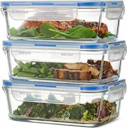 3-pack Superior Glass Meal Prep Containers BPA-free Airtight