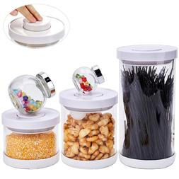 3 Large Glass Canisters with Pop-up Lids and 2 Airtight Smal