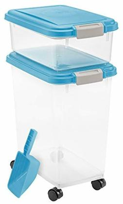 3-Piece Stackable Pet Dog Cat Dry Food Storage Container Wit