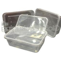30 x PLASTIC 750ml MICROWAVE FOOD TAKEAWAY CONTAINERS WITH L