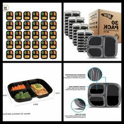 30PACK Meal Prep Containers Food Storage 3 Compartment Reusa