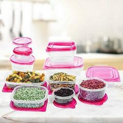 34 pc reusable plastic food storage containers