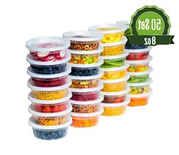 50 Pack 8 oz Plastic Food Storage Containers with Lids - Del
