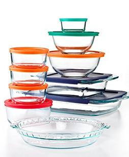 Pyrex 19 Piece Bake, Store and Prep Set with Colored Lids, O