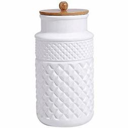 Ceramic Food Storage Jar With Airtight Seal Wooden Lid Moder