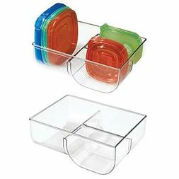 mDesign Food Storage Container Lid Holder, 3-Compartment