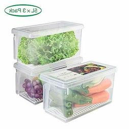 Fridge Storage Containers Produce -5Lx3 SILIVO Stackable Ref
