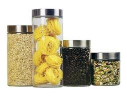 Glass 4-Piece Food Storage Canister Set with Stainless Steel