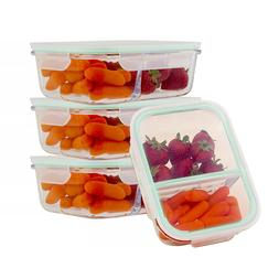 Glass 51 Oz Food Containers 2 Compartment Meal Prep Storage