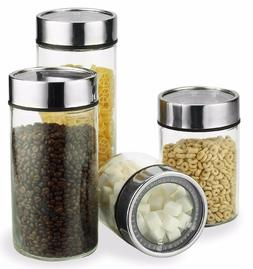 Glass Food Storage Container Set w/ Stainless Steel Date Dia