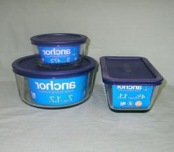 Anchor Hocking Glass Food Storage Container with Blue Lid -