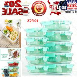 Glass Meal Prep Containers Airtight Food Storage Set 1 Compa