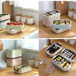 Hot Lunch Box Stainless Steel Thermal Bento Divided Food Sto