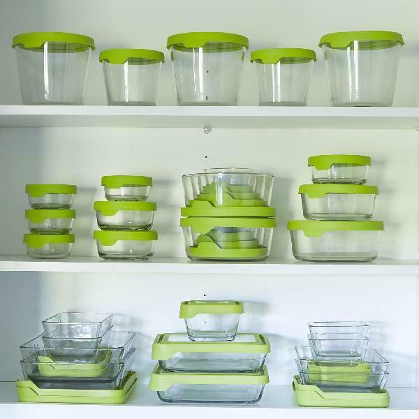 Anchor Seal Storage Set, Rounded Green Lid