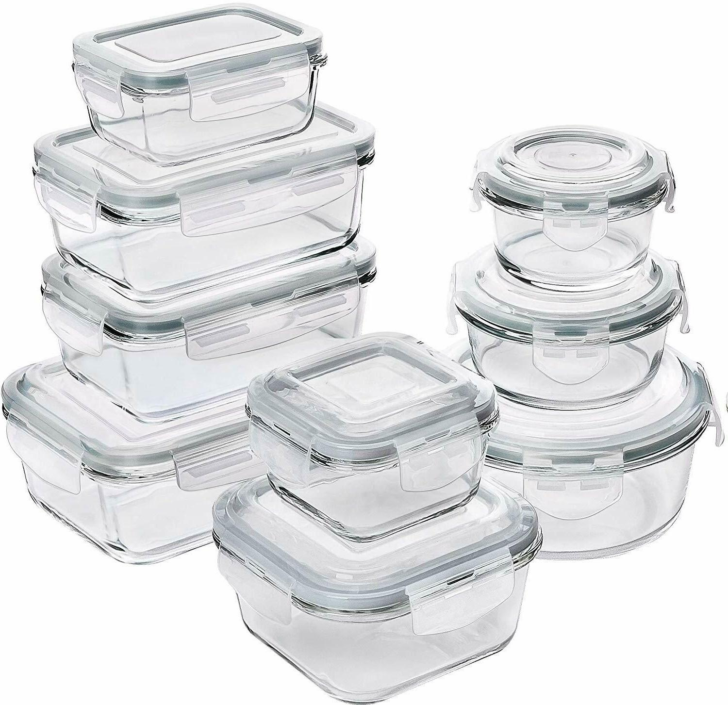 18 pieces glass food storage container set
