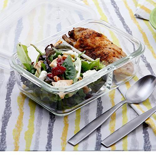 2 3 Glass - with Food Box, Glass Tupperware Lunch Box, Airtight