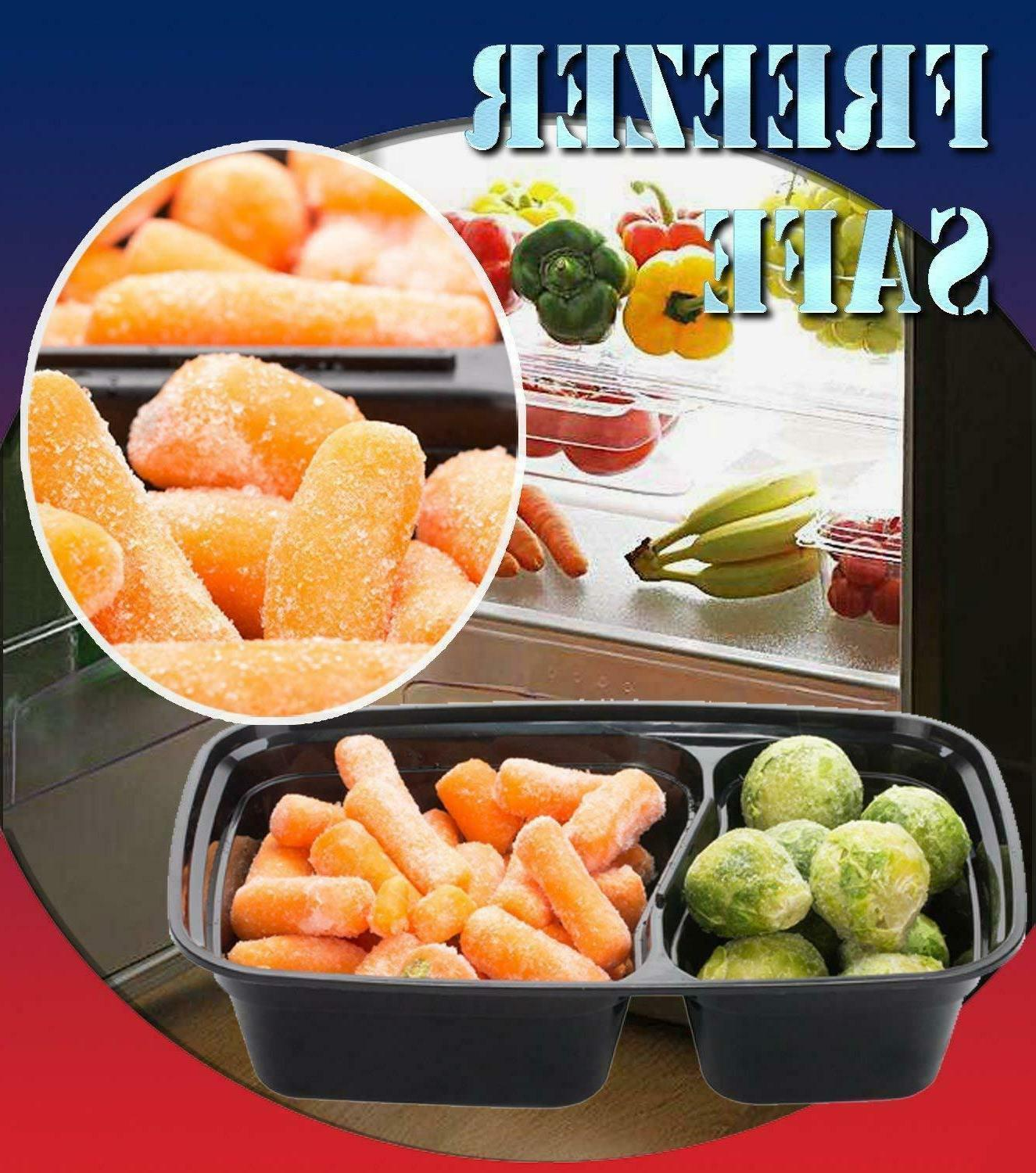 20 Meal 2 Compartment Plastic Reusable