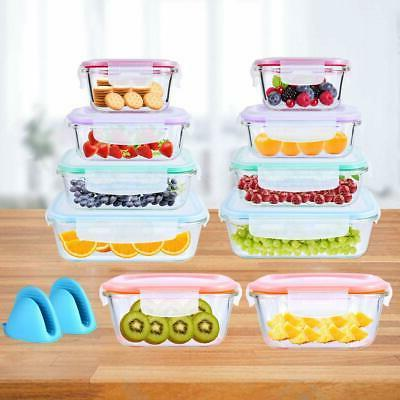 20 Glass Food Storage Airtight Containers Snap Lock Lids