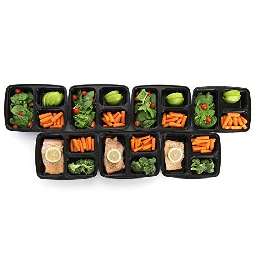 Meal Prep Compartment Containers Airtight Lid, Box, Lunch Box for Prep, and Control, Set of