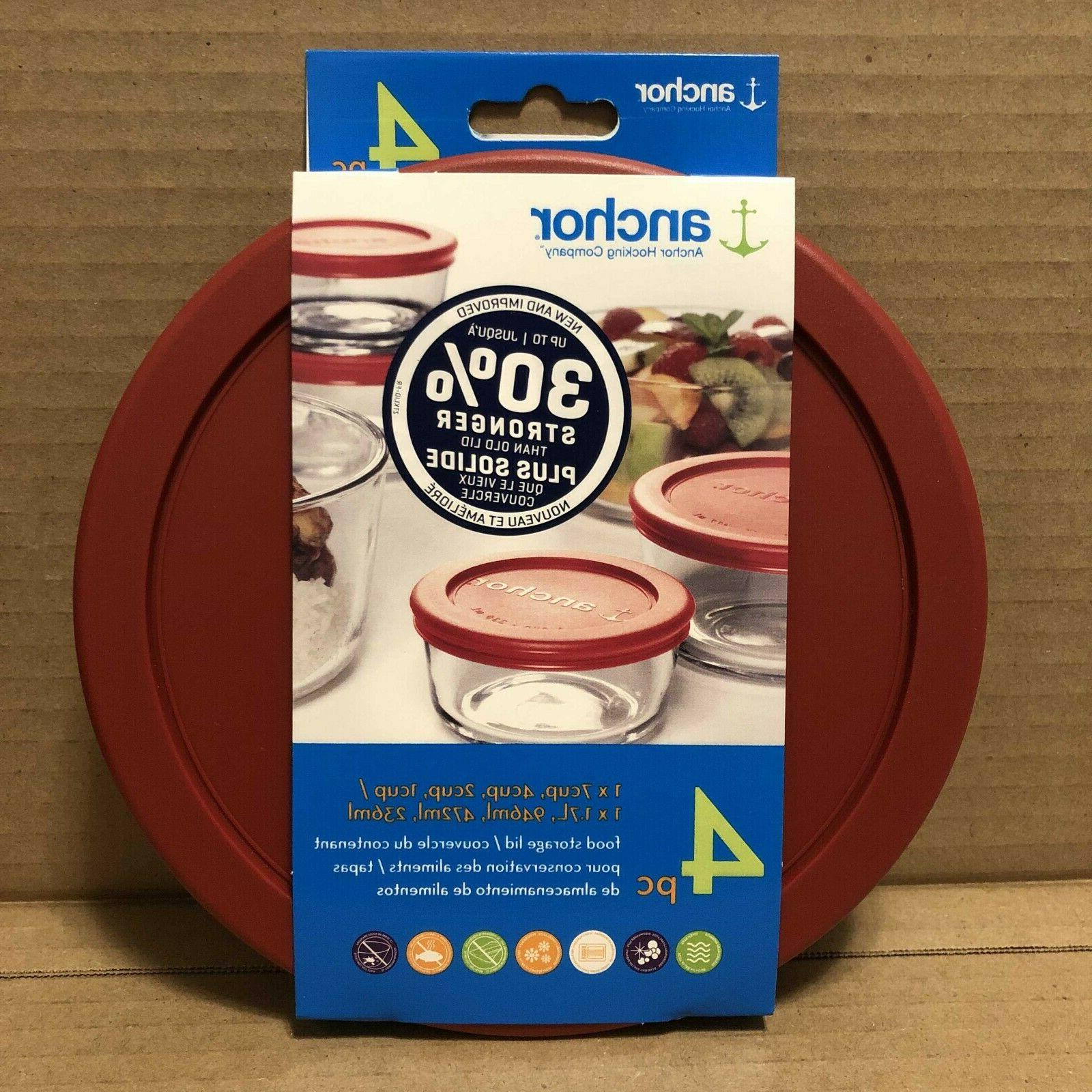 Anchor Hocking Assorted Food Storage Lid 4 pc Red Replacemen