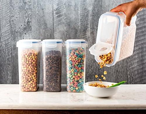 Set 4 Cereal Dry Storage Containers BPA-Free Container Airtight Suitable for Coffee, Rice, Pet More