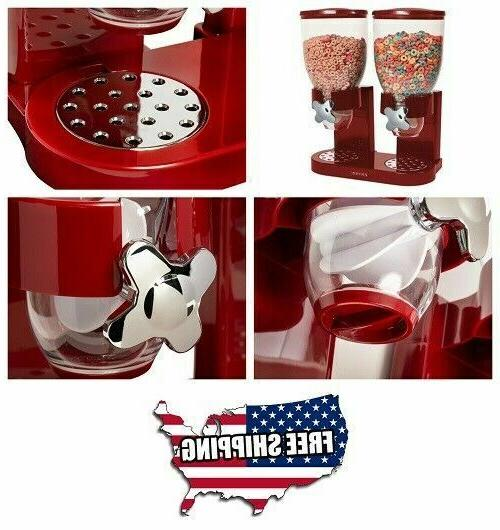 Double Chamber Dry Food Cereal Dispenser Airtight Kitchen St