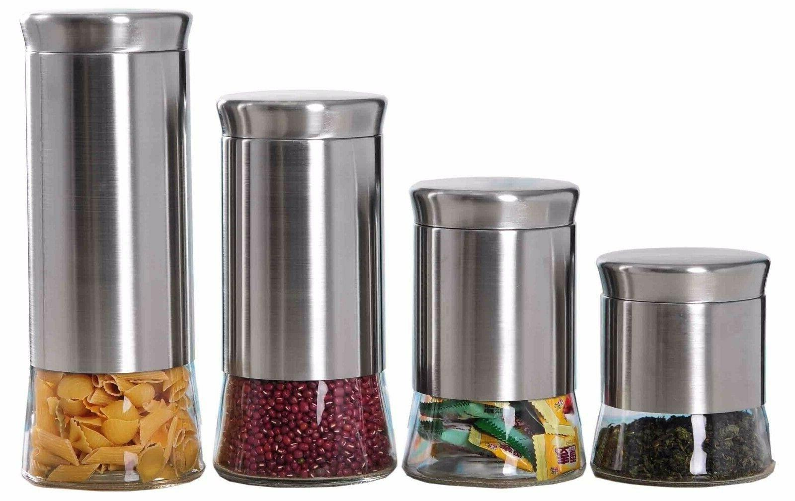 Home Basic NEW 4 Piece Essence Canister Stainless Steel Food