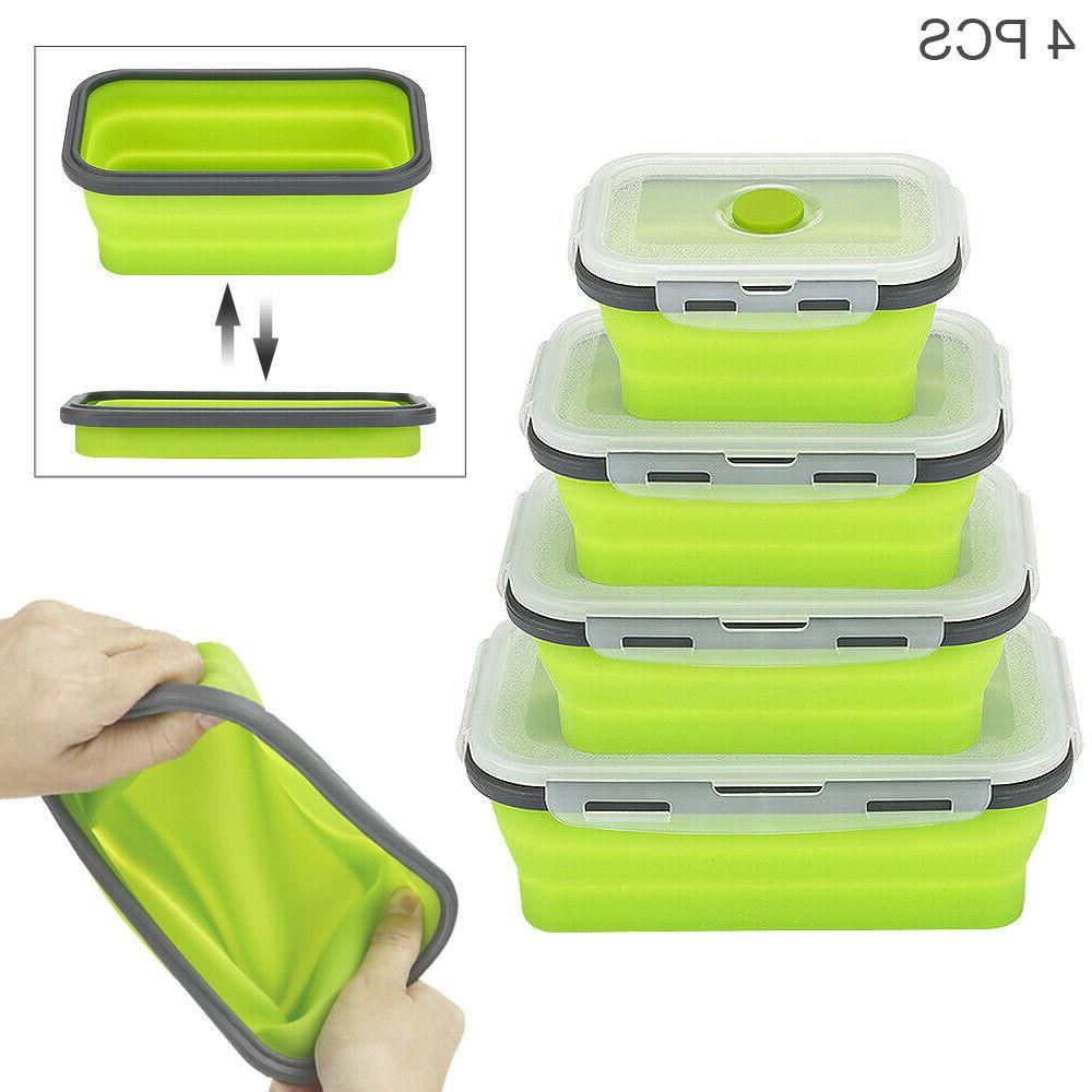 Food Collapsible Reusable Silicone Lunch Bento Box
