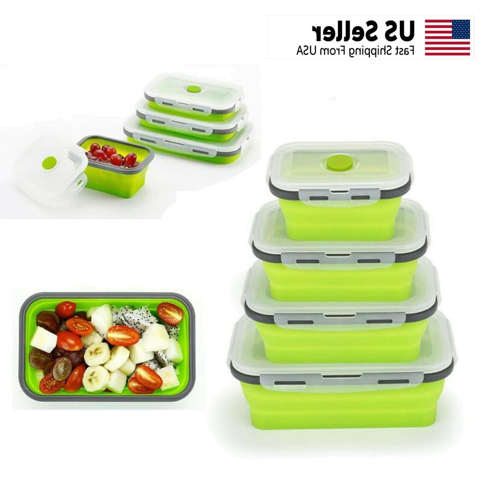 food storage containers 4 pack collapsible reusable