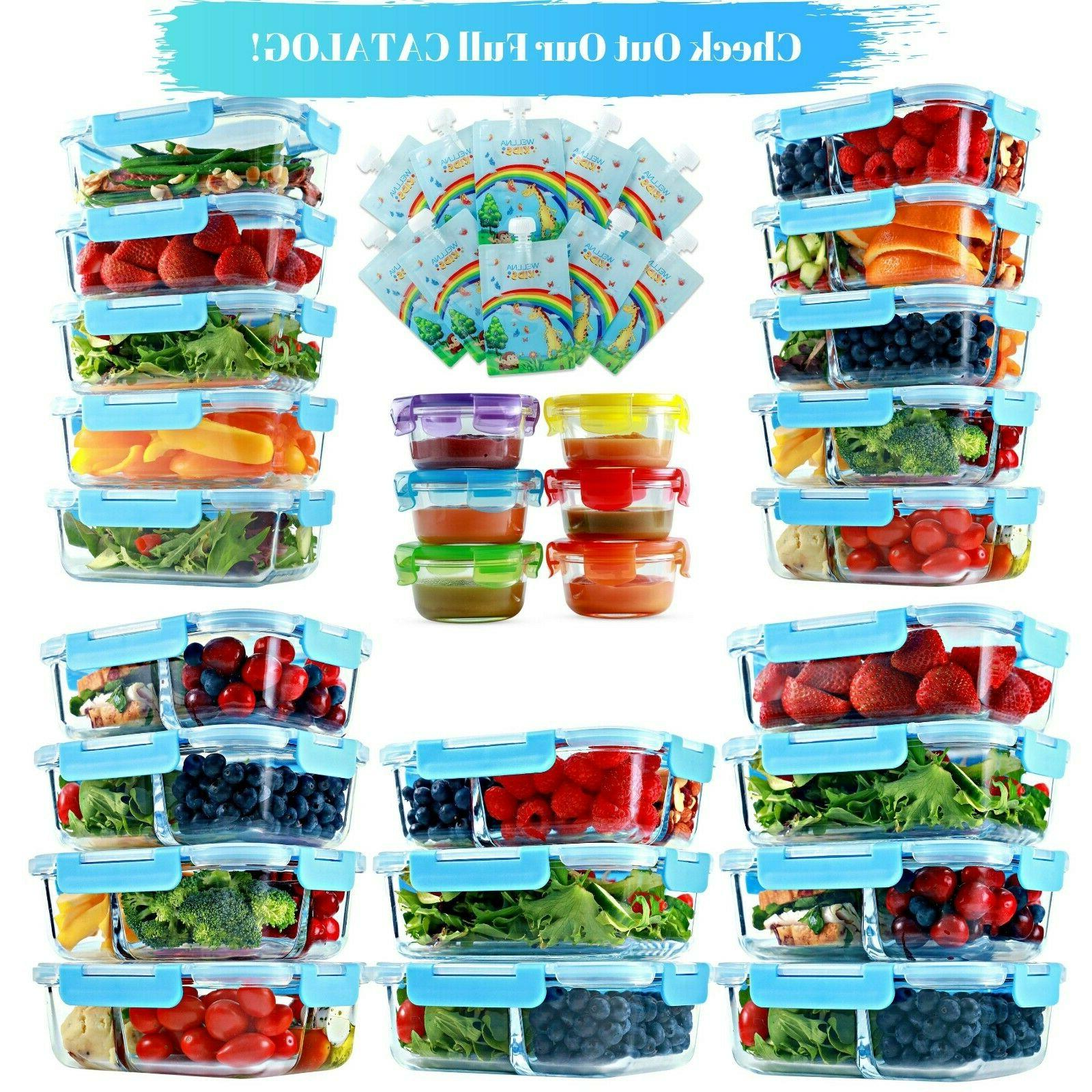 Glass Containers 3 Compartment, 5 35 Oz, Bento