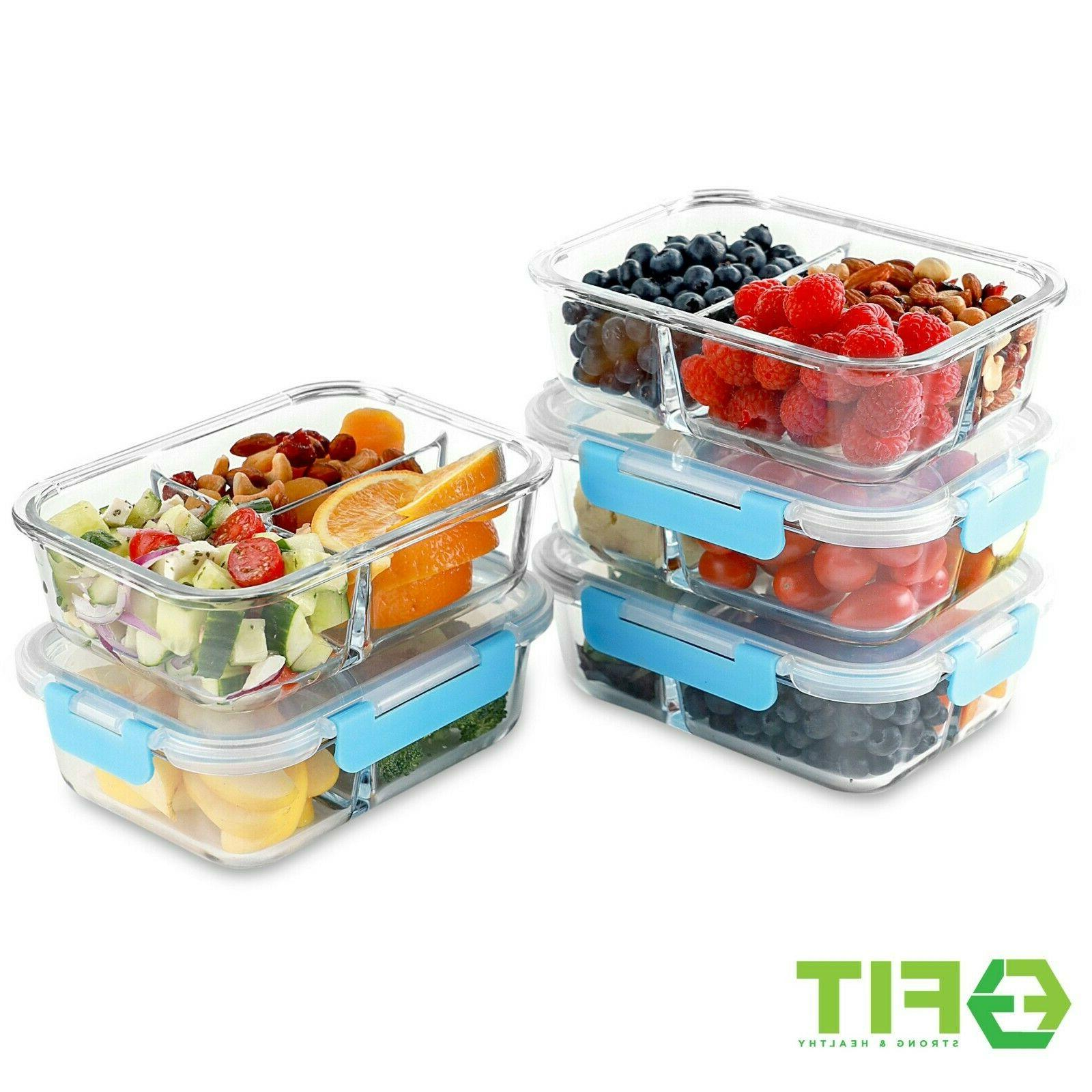 Glass Meal Containers 3 Compartment, 35 Food Storage Bento