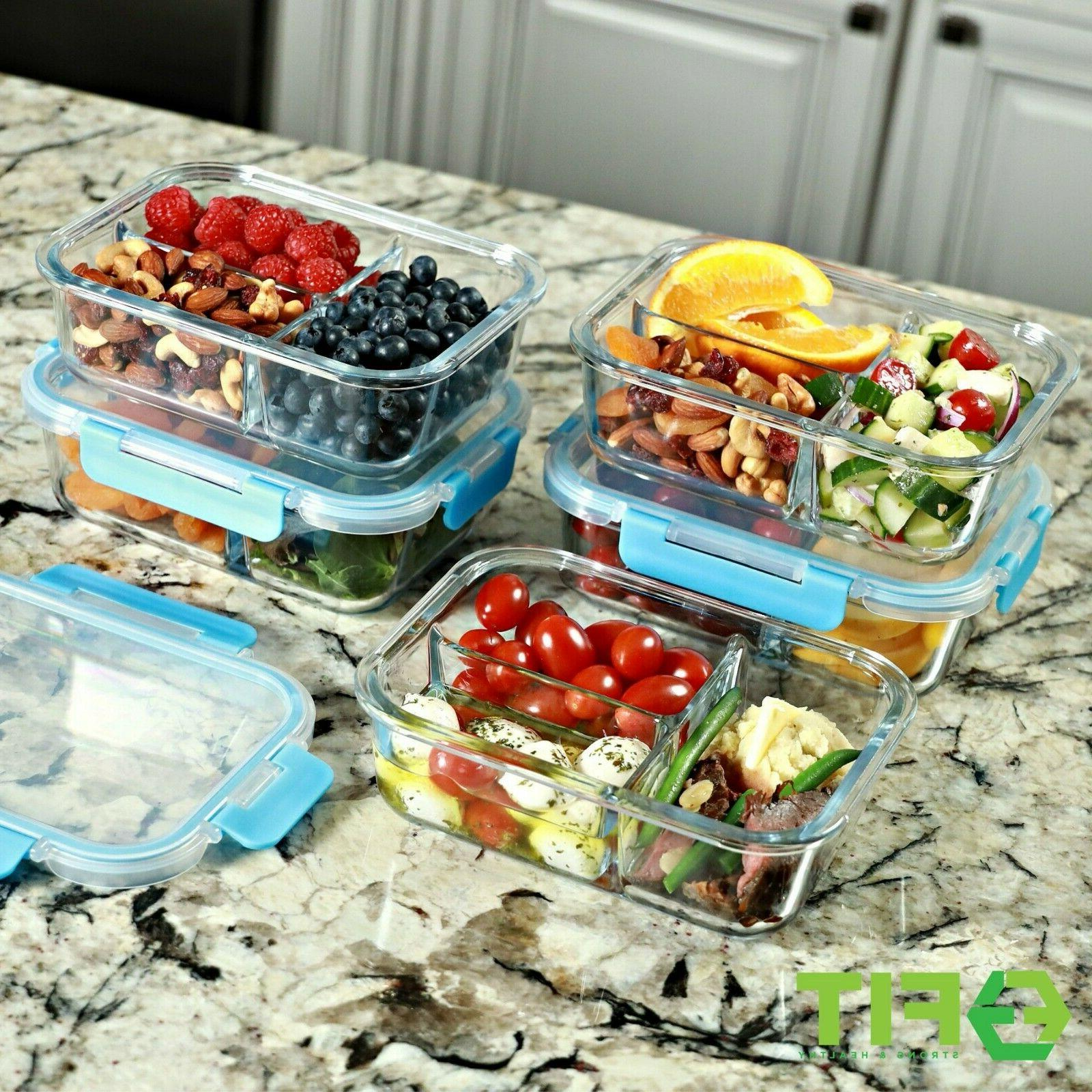 Glass Meal 3 Compartment, 35 Bento