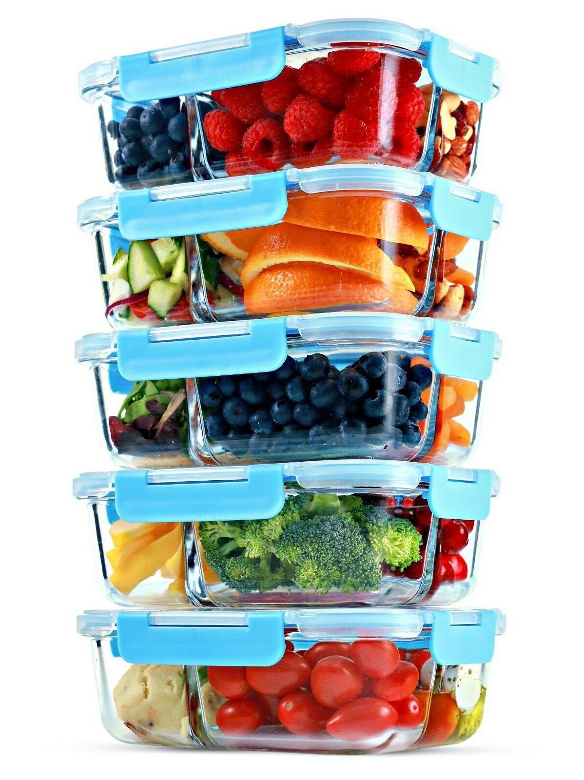 glass meal prep containers 3 compartment 5