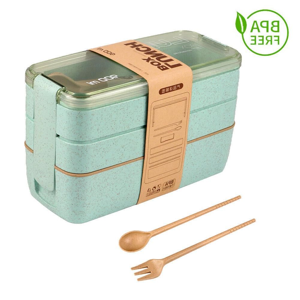 Lunch Straw Bento Layer Food Storage Container New