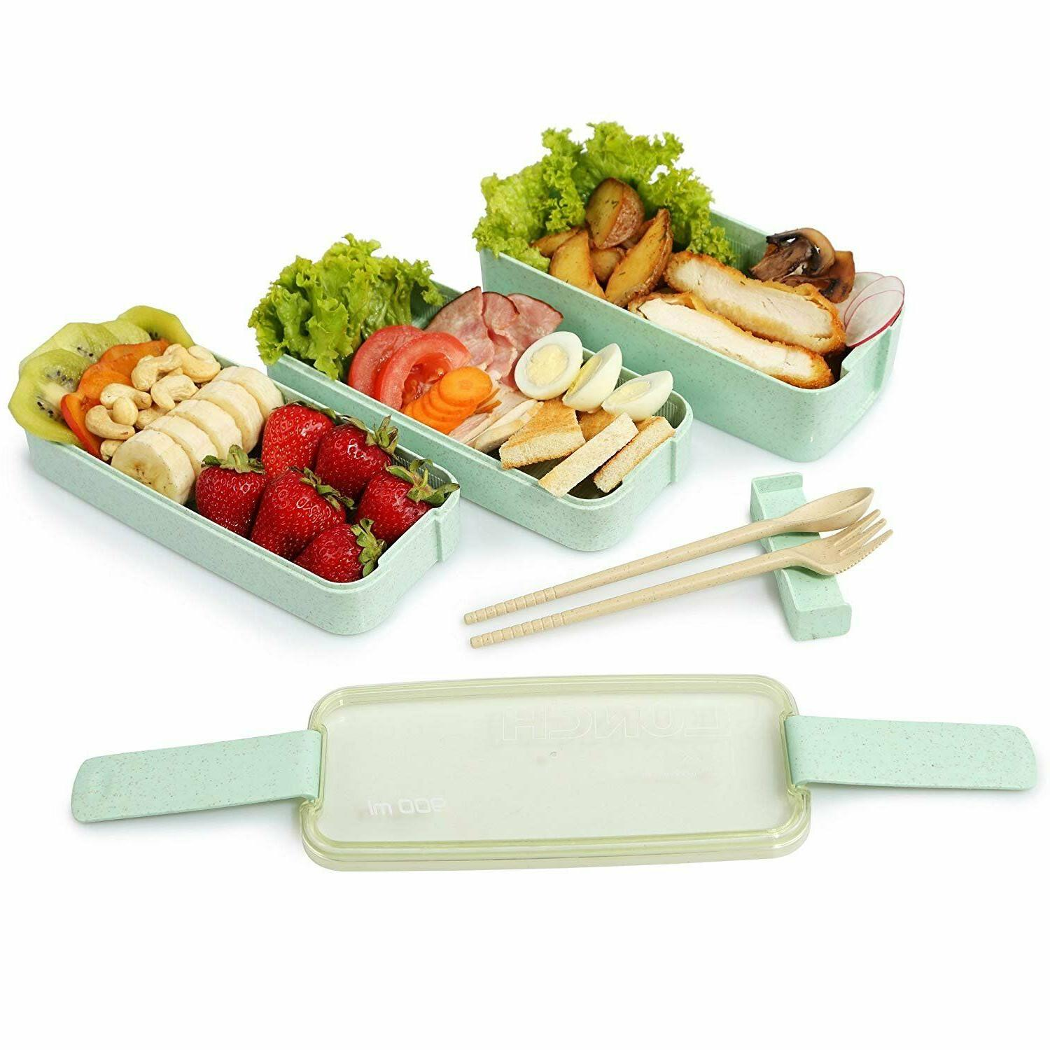 Lunch Wheat Bento Microwave Layer Storage