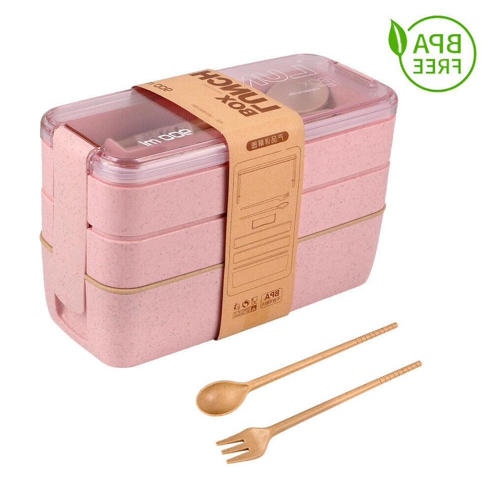Lunch Wheat Straw Bento Boxes Layer New