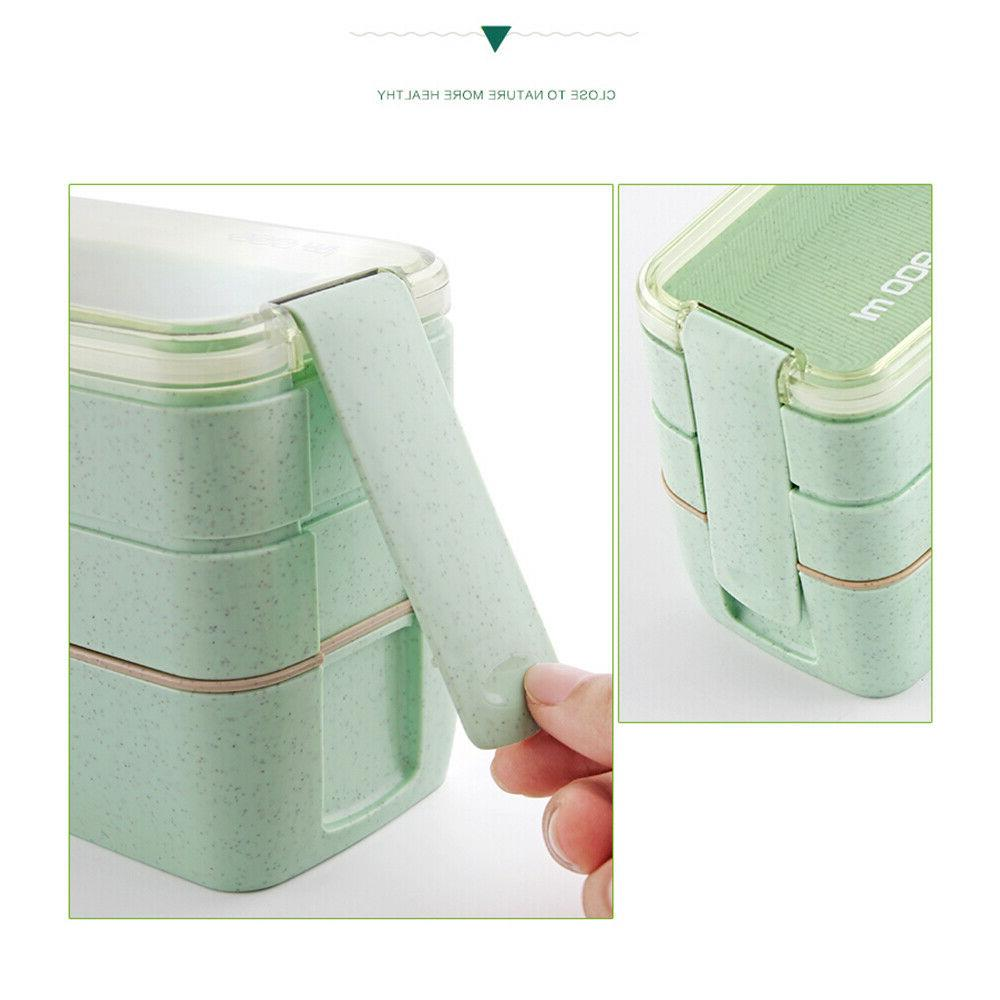 Lunch Bento Boxes Microwave Layer Food New