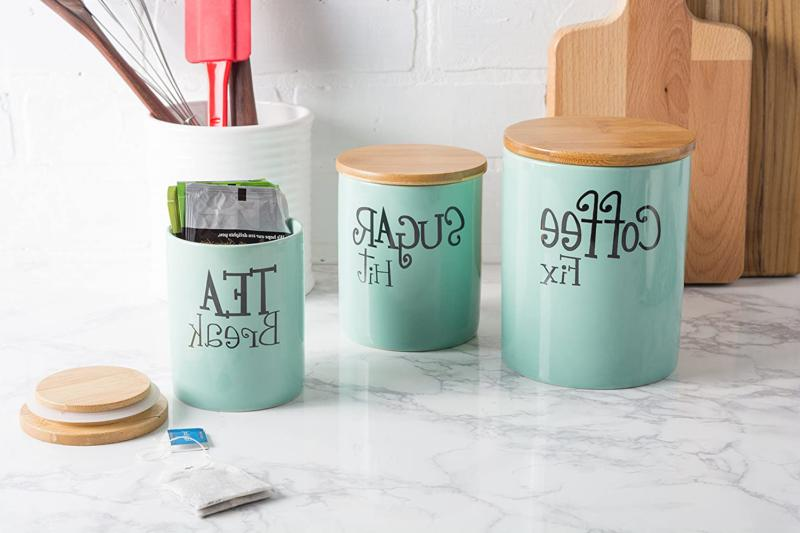 DII Modern Kitchen Canister with Bamboo Lid Food Serve