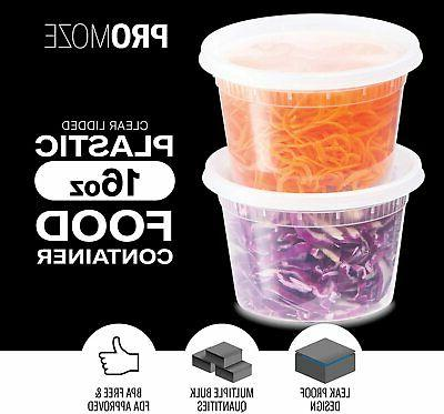 Plastic Food Storage Containers 48 Pack, 16 Oz |