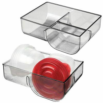plastic divided food storage container lid holder